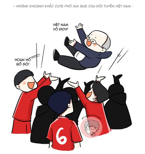 Tối 15/12 sau khi trở thành đội tuyển vô địch AFF Cup 2018, HLV Park Hang-seo được các học trò tung hứng ngay trên sân. Nhà cầm quân người Hàn Quốc không chỉ là một HLV mà còn thân thiết với các học trò của mình như một người cha.