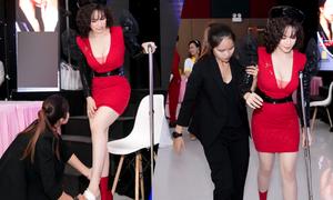Nhật Kim Anh chống nạng đi sự kiện