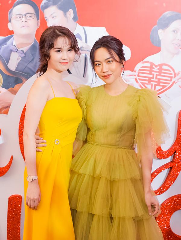 Ngọc Trinh và Diệu Nhi tham dự buổi họp báo giới thiệu phim Vu quy đại náo chiều 19/12.