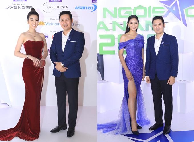 Doanh nhân được khen phong độ, nam tính khi sánh vai Hoa hậu Đỗ Mỹ Linh (trái) và Hoa hậu Tiểu Vy (phải) trong đêm vinh danh trao giải Ngôi sao của năm 2018 do Báo Ngoisao.net tổ chức.Theo ông Tam, vest tôn vẻ trang trọng cho người mặc.