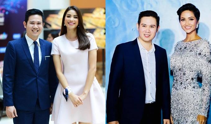Vẻ lịch lãm của Phạm Văn Tam khi sóng đôiHoa hậu Phạm Hương, Hoa hậu HHen Nie trong các sự kiện.