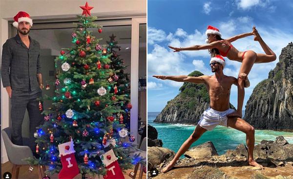 Thủ môn Kevin Trapp của PSG đứng lên ghế so độ cao với câu thông Noel trong biệt thự trước khi khoe ảnh đi nghỉ dưỡng cùng bạn gái siêu mẫu Izabelle Goulart