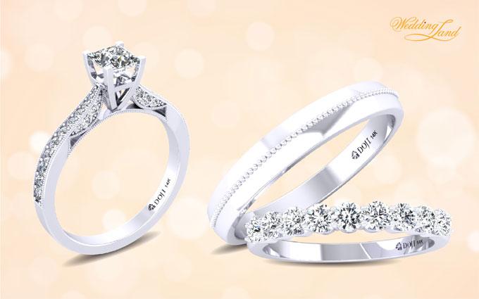 Nhẫn đính hôn Infinity Love gắn kim cương 99 giác cắt sánh đôi cùng nhẫn cưới được thiết kế tinh xảo với dải kim cương tấm quanh thân nhẫn giúp cô dâu thêm quyến rũ nhờ phong cách thời trang nổi bật.