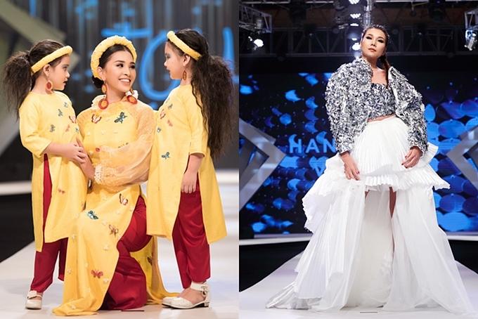 2. Quy tụ dàn siêu mẫu - hoa hậu nổi tiếng: Một điểm nhấn của Asian Kids Fashion Show là sự góp mặt trình diễn của nhiều người đẹp nổi tiếng. Trong ảnh, Hoa hậu Việt Nam - Trần Tiểu Vy trình diễn bộ sưu tập áo dài truyền thống được cách tân với những hoạ tiết lạ mắt bên cạnh mẫu nhí.