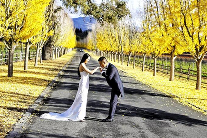 Tuấn Hưng chụp ảnh cùng vợ ởthung lũng Napa (California, Mỹ).