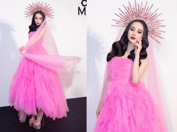 Phong cách trang điểm này được cho là lấy cảm hứng từ concept trang điểm theo chủ đề Thiên chúa giáo của Lily Collins và Blake Lively tại Met Gala năm nay.