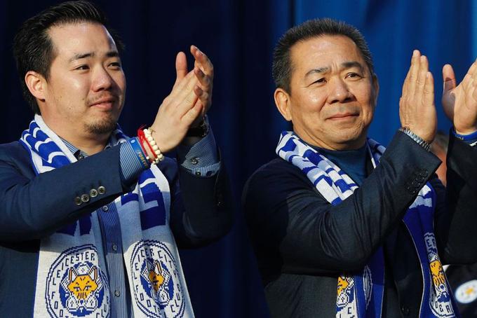 Cố chủ tịch Vichai và con trai Aiyawatt. Ảnh: News.