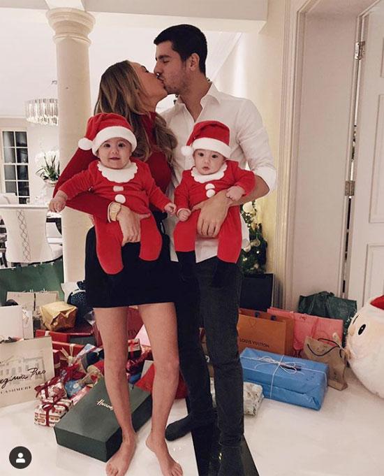 Vợ chồng Morata hạnh phúc đón Giáng sinh đầu tiên cùng cặp song sinh