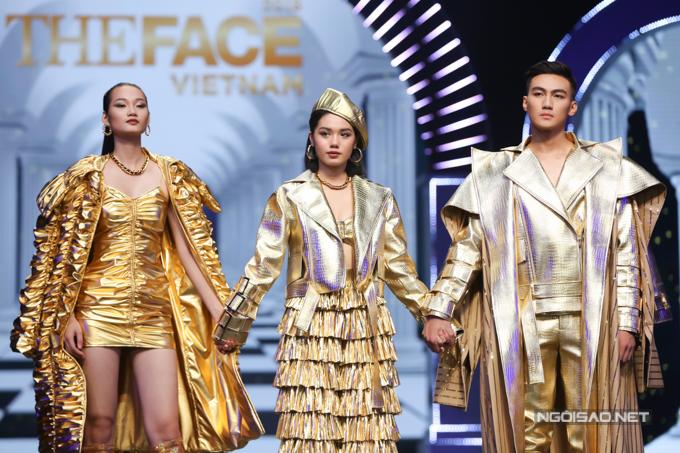 Mạc Trung Kiên (phải) vượt qua Quỳnh Anh (trái) và Trâm Anh đăng quang The Face 2018.