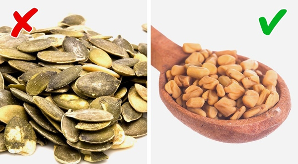 Hạt cà riHạt cà ri giúp loại bỏ chất gây nên mùi hôi cơ thể. Trong khi đó, hạt bí chứa hàm lượng cao cholin, tác nhân gây mùi hôi.