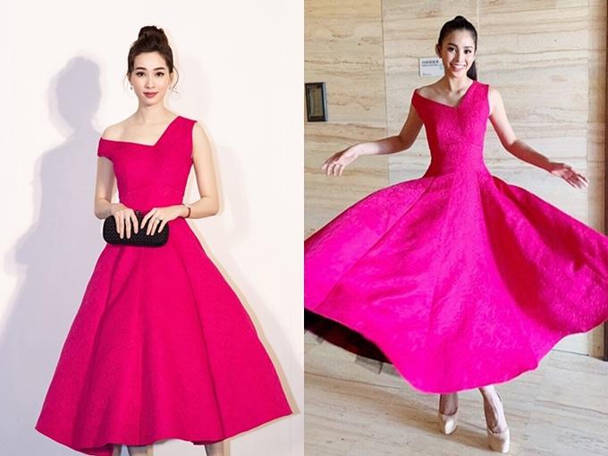 Hoa hậu Đặng Thu Thảo hiếm khi xuất hiện trước công chúng. Mới đây, người đẹp tham dự thảm đỏ show thời trang của nhà thiết kế Đỗ Mạnh Cường và khoe vẻ đẹp mong manh trong một chiếc đầm lệch vai.