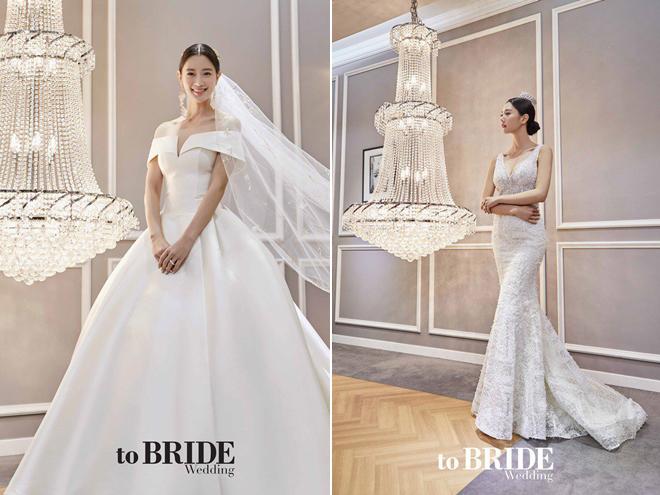Clara mặc váy cưới trên tạp chí.