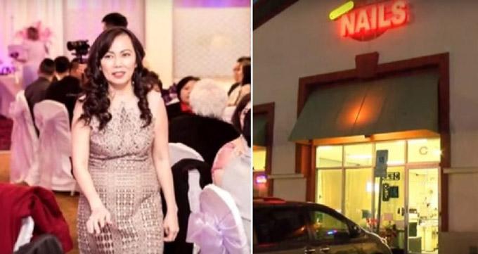 Bà Nhu Annie Ngoc Quynh Nguyen (trái) là chủ tiệm nail Crystal Nails & Spa (phải) mà bà gây dựng ở Las Vegas trong hai năm qua. Ảnh: NextShark.