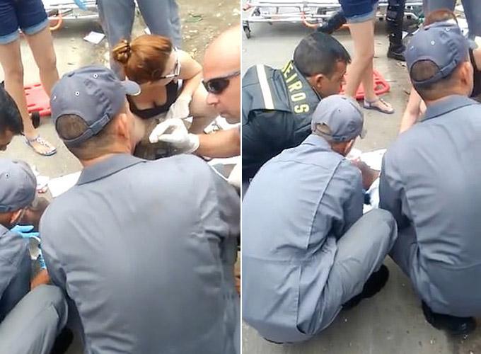 Nhân viên y tế nỗ lực cứu anh Leite ở hiện trường nhưng không thành công. Ảnh: CEN.
