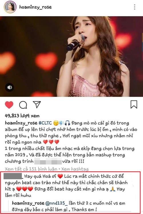Hòa Minzy đáp trả fan khi được khuyên không nên đổi beat.