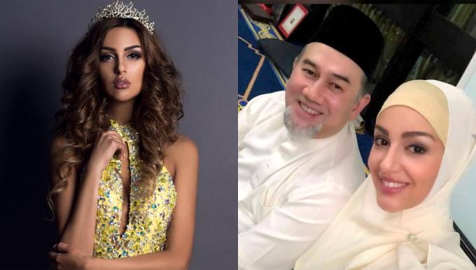 Quốc vương Muhammad V bên cô vợ hoa hậu.