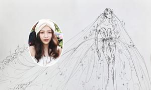 Váy cưới 2 trong 1 của MiA được hoàn thiện trước hôn lễ một ngày