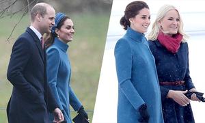 Kate mặc lại áo khoác bầu dự lễ nhà thờ đầu tiên của năm mới
