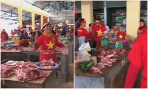 Tiểu thương Nghệ An nhảy múa cổ vũ tuyển Việt Nam ở Asian Cup