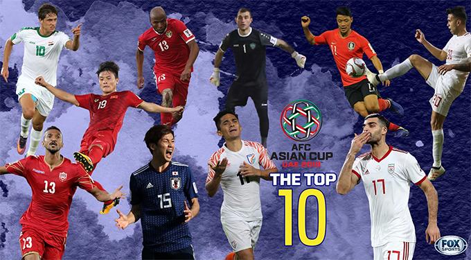 Top 10 cầu thủ ấn tượng lượt trận đầu tiên Asian Cup 2019 có sự góp mặt của Quang Hải. Ảnh: Fox Sports.