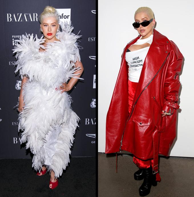 Christina Aguilera Cựu huấn luyện viên The Voice Mỹ là người không ngại thử nghiệm những thiết kế khác biệt, tuy nhiên không phải lúc nào sự táo bạo của cô cũng được đánh giá cao. Năm qua, bộ cánh đính kết lông vũ nặng nề và set đồ đỏ rực với áo choàng da quá khổ kèm áo thun khoe ngực là hai phong cách bị chê nhiều hơn cả.