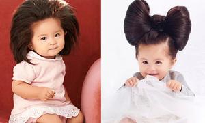 Bé gái Nhật tóc 'bờm sư tử' đóng quảng cáo dầu gội