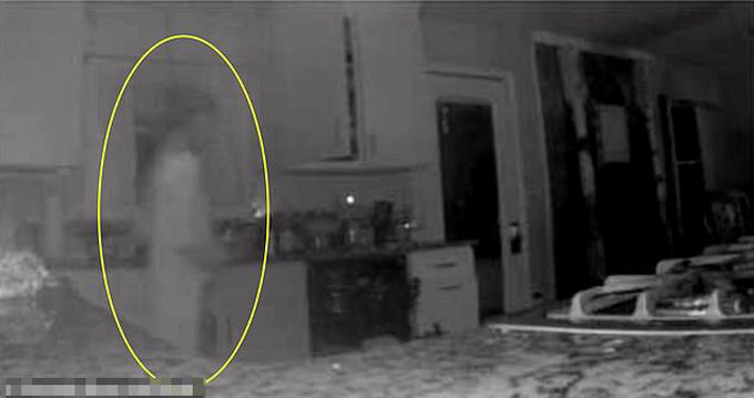 Hình bóng mờ ảo của bóng ma được cho là con trai đã chết hai năm trước của bà Jennifer Hodge ở khu bếp trongnhà riêng ở Atlanta, bang Georgia, Mỹ, hôm 5/1. Ảnh: Kenedy News and Media.