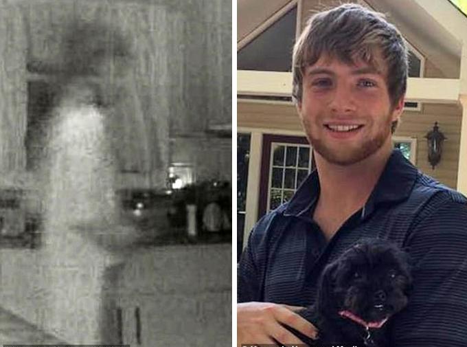 Bóng ma (trái) có hình dạng gần giống Robbie (phải), người đã chết hai năm trước do sốc thuốc ở Atlanta, bang Georgia, Mỹ. Ảnh: Kenedy News and Media.