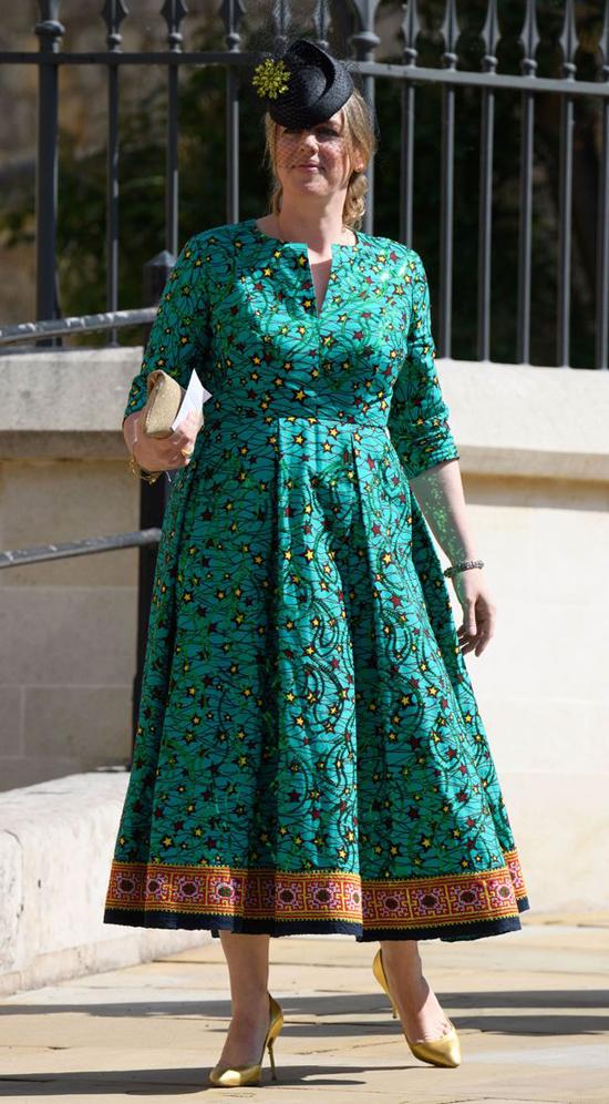 Laura Parker Bowles dự đám cưới của Hoàng tử Harry và Meghan ở lâu đài Windsor hôm 19/5/2018. Ảnh: Rex.