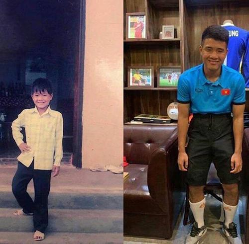 Tiền đạo Hà Đức Chinh cũng bắt trend khá nhanh. Anh được khen hồi nhỏ dễ thương, nhưng lớn lên ngày càng mặn, xứng biệt danh vựa muối của tuyển Việt Nam.