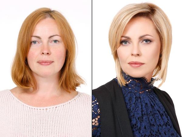 Chuyên gia cắm hoa 42 tuổi, Jūratė, có khuôn mặt hình oval, mái tóc bob làm lộ nhược điểm này. Sau khi được tỉa gọn và nhuộm màu sáng hơn, diện mạo của  Jūratė trông sắc nét hơn hẳn.