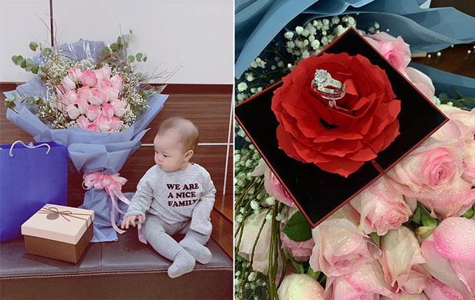 Vợ Quế Ngọc Hải đăng ảnh con gái ngồi cạnh những món quà anh tặng cô nhân kỷ niệm một năm ngày cưới. Ảnh: FB.
