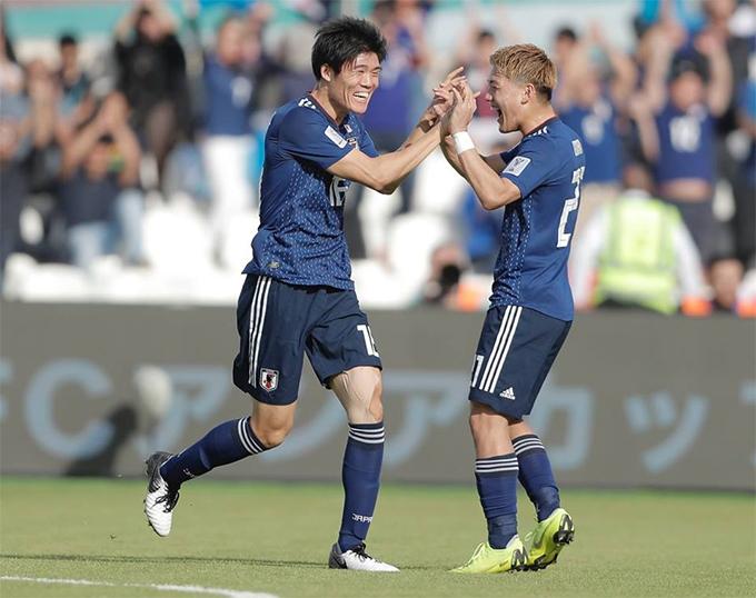 Cầu thủ Nhật Bản mừng bàn thắng duy nhất của trận đấu. Ảnh: AFC.