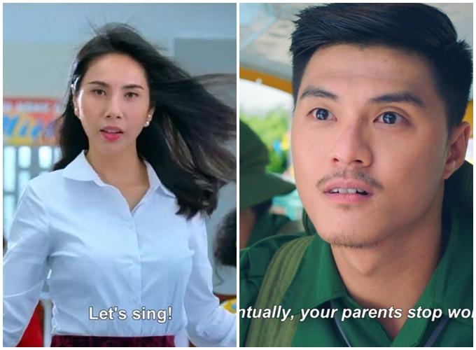 Ca sĩ Thủy Tiên và vũ công Lâm Vinh Hải trong tạo hình của phim Vu quy đại náo.