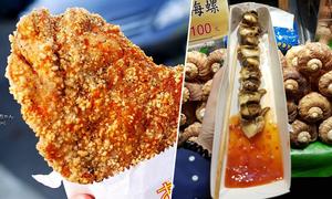 Xếp hàng nườm nượp ăn lườn gà, ốc nướng ở Đài Loan