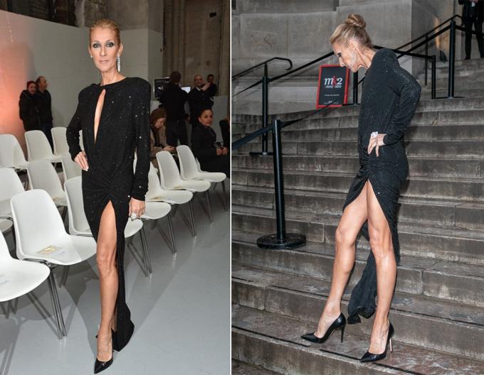 Celine Dion lựa chọn bộ đầm đen xẻ cao trong show Alexandre Vauthier.