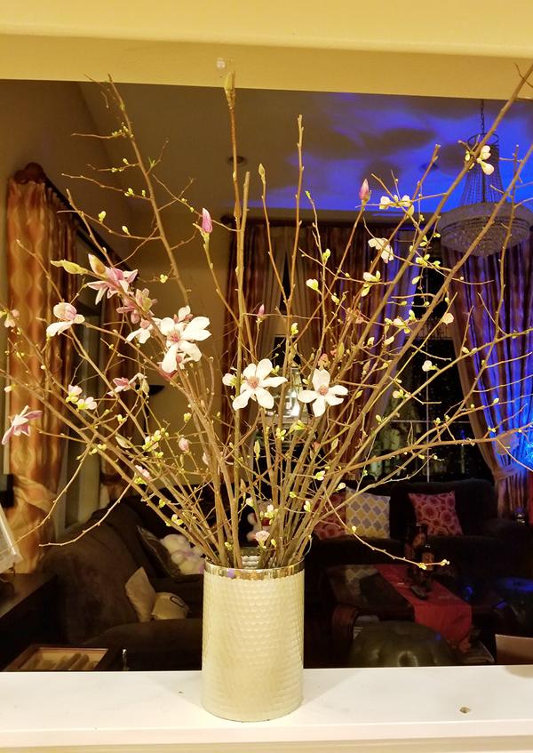 Hoa đào bung nở những cánh đầu tiên trong không gian sống của nữ ca sĩ, báo hiệu mùa xuân đã cận kề.