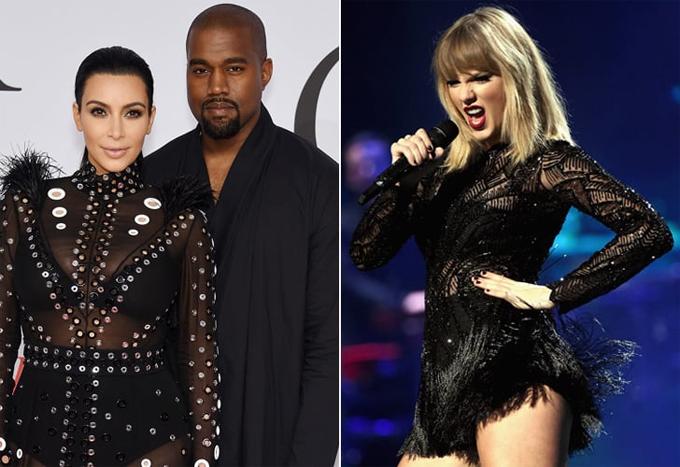 Vợ chồng Kim và Taylor Swift từng nhiều lần lao đao vì nhau.