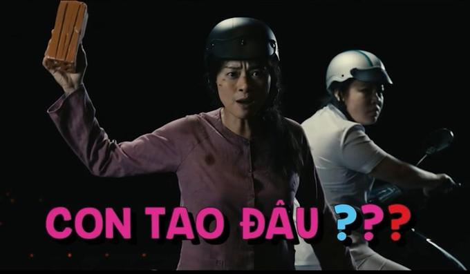 Ngô Thanh Vân mang tạo hình Hai Phượng, hùng hổ lao vào rạp chiếu phim.