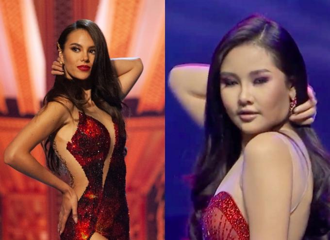 Động tac 1vuo6t1 tóc của Ngân Anh (phải) được cho học hỏi từ đương kim Miss Universe.