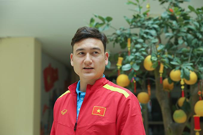 Văn Lâm tại trụ sở VFF chiều 26/1. Ảnh: Đương Phạm.
