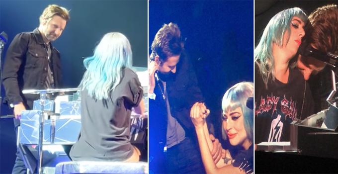 Gaga đệm đàn cho tài tử hát và sau đó hòa giọng cùng nhau. Hai ngôi sao thể hiện nhiều cử chỉ tình tứ giống như trong phim.