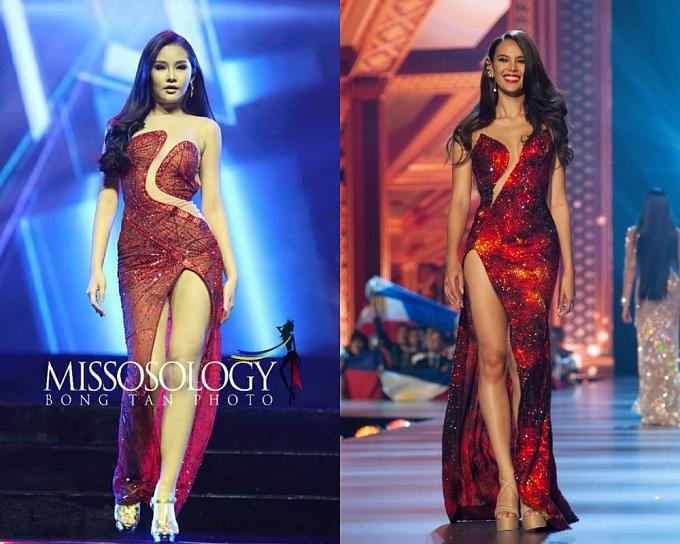 Bộ váy của Ngân Anh (trái) trong chung kết Miss Intercontinental được cho rằng sao chép từ Miss Universe.