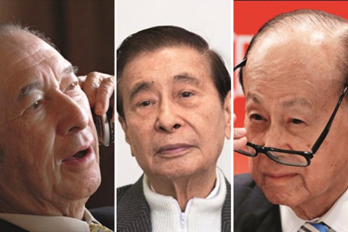 Từ trái qua: Stanley Ho, Lý Triệu Cơ, Lý Gia Thành. Ảnh:Visual China.