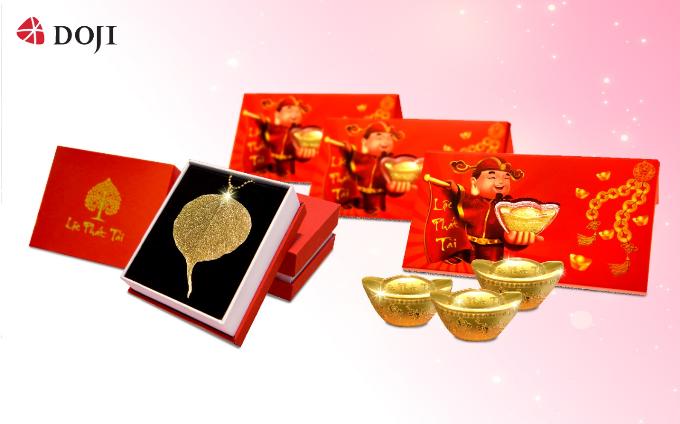 Từ 11/2 đến 17/2, khi tới trung tâm Vàng bạc trang sức DOJI mua sắm, các bạn sẽ có cơ hội nhận các phần quà tặng may mắn và giá trị nhân dịp đầu năm mới như lì xì tiền mặt, quà tặng Lá Bồ Đề vàng, lì xì Âu vàng 24k.