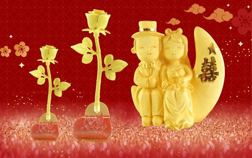 Ngoài trang sức, năm nay DOJI còn tung ra quà tặng mỹ nghệ vàng 999.9 có biểu tượng cặp cô dâu chú rể trong tâm thế vui tươi, hạnh phúc. Trong dịp này, với sản phẩm Thê Hiền Phu Qúy, thương hiệu muốn truyền tải thông điệp: Valentine không chỉ dành riêng cho các đôi bạn trẻ mà còn là dịp để cặp vợ chồng thể hiện ước nguyện mãi sẻ chia, gắn bó.