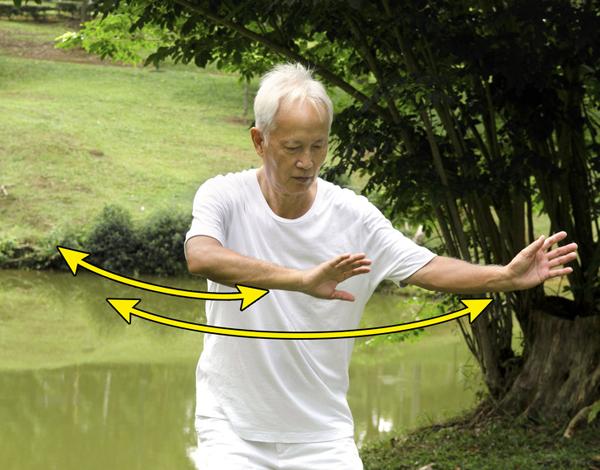 Đưa tay sang ngang Động tác này giúp giảm căng thẳng, thư giãn toàn thân. Đứng thẳng, hai chân dang rộng bằng vai hoặc xa hơn. Đưa tay lên trước ngực, lòng bàn tay hướng ra ngoài. Từ từ khuỵu nhẹ gối xuống. Bắt đầu di chuyển hai tay từ trái sang phải và ngược lại. Duy trì hơi thở nhịp nhàng, thực hiện khoảng 2 - 3 phút.