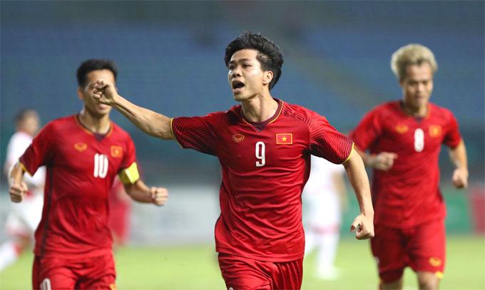 Công Phượng mừng bàn thắng vào lưới Bahrain đưa Việt Nam vào tứ kết Asiad 2018.