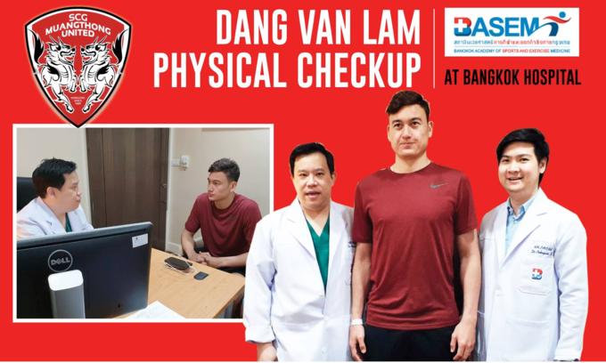 Đặng Văn Lâm được kiểm tra y tế ở Thái Lan.