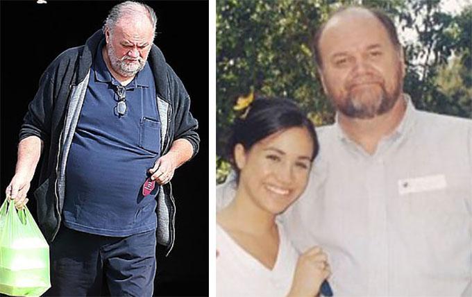 Ông Thomas Markle đi mua sắm ở Mỹ hôm 1/2 (bìa trái) và khi chụp ảnh với Meghan hàng chục năm trước (bìa phải). Ảnh: Backgrid.